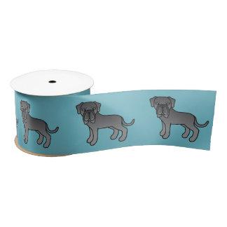 かわいい漫画の青いNeapolitanマスティフ犬 サテンリボン