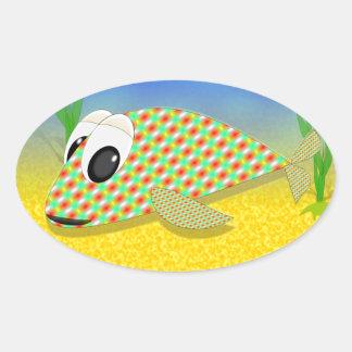 かわいい漫画の魚 楕円形シール