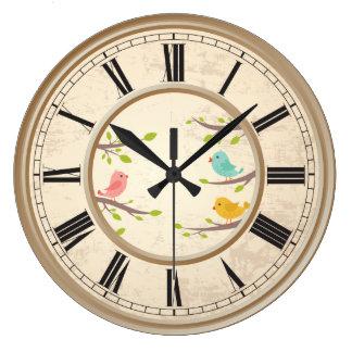 かわいい漫画の鳥の子供 ラージ壁時計