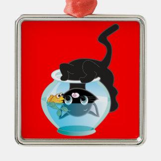 かわいい漫画子ネコ、魚およびボール メタルオーナメント