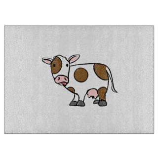 かわいい漫画牛ブラウンおよび白 カッティングボード