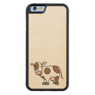 かわいい漫画牛ブラウンおよび白 CarvedメープルiPhone 6バンパーケース