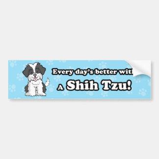 かわいい漫画犬のシーズー(犬)のTzuのバンパーステッカー バンパーステッカー