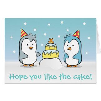 かわいい漫画-ペンギンの誕生祝い グリーティングカード