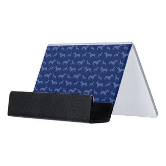 かわいい濃紺のダックスフントパターン デスク名刺ホルダー