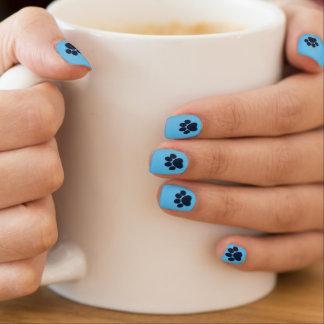 かわいい濃紺ペット足は青い背景V03Bを印刷します ネイルアート