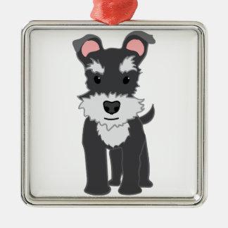かわいい灰色のシュナウツァーの子犬 メタルオーナメント