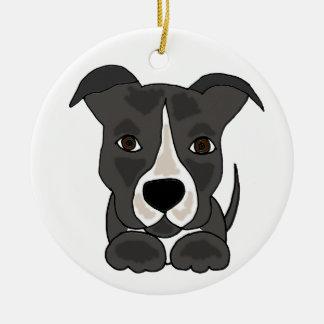 かわいい灰色のピットブルの小犬 セラミックオーナメント
