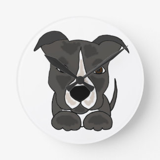 かわいい灰色のピットブルの小犬 ラウンド壁時計