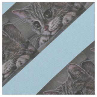 かわいい灰色の子ネコのスケッチ ファブリック