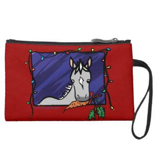 かわいい灰色の子馬のクリスマス スエードクラッチ