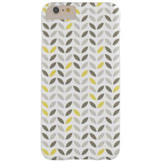 かわいい灰色の黄色い葉パターン スキニー iPhone 6 PLUS ケース