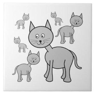 かわいい灰色猫。 猫の漫画 正方形タイル大