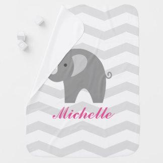 かわいい灰色象が付いている灰色のシェブロンのベビーブランケット ベビー ブランケット