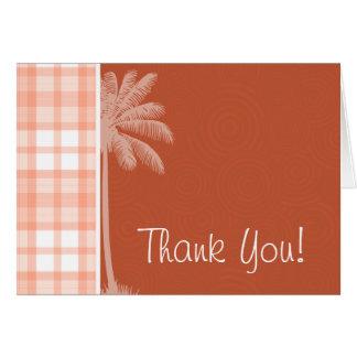 かわいい熱帯オレンジ格子縞 カード