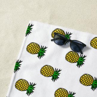 かわいい熱帯夏はパターンパイナップル実を結びます ビーチタオル