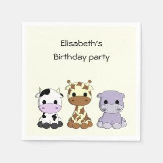 かわいい牛キリンのカバの漫画の女の子の誕生日 スタンダードカクテルナプキン
