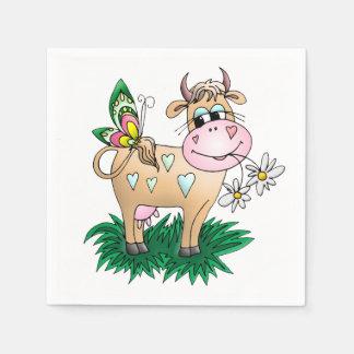 かわいい牛及び蝶 スタンダードカクテルナプキン