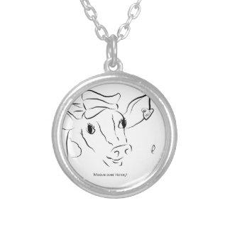 かわいい牛 シルバープレートネックレス
