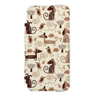 かわいい犬が付いているパターン INCIPIO WATSON™ iPhone 5 ウォレット ケース