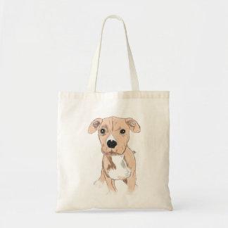 かわいい犬のトートバック、犬の絵 トートバッグ