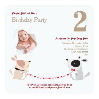 かわいい犬のハートの水彩画の赤ん坊の誕生会 13.3 スクエアインビテーションカード