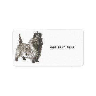 かわいい犬の子犬のケアーン・テリアW/Crown黒いnの白 ラベル