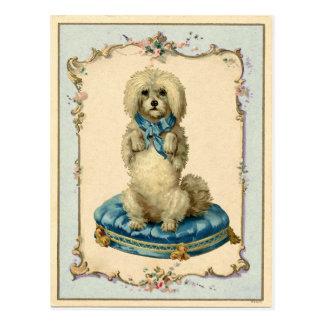 かわいい犬の青いクッションのヴィンテージの再生 ポストカード