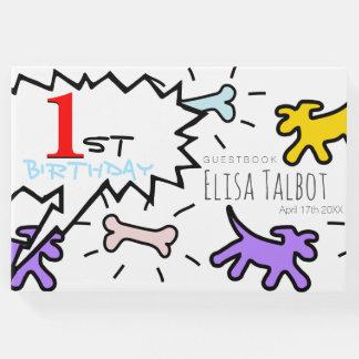 かわいい犬用の骨の第1誕生日の来客名簿 ゲストブック