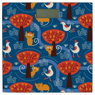 かわいい猫および鳥が付いているパターン 体重計
