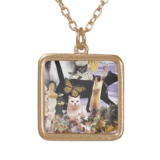 かわいい猫のコラージュ4 ゴールドプレートネックレス