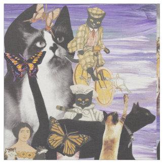 かわいい猫のコラージュ4 ファブリック