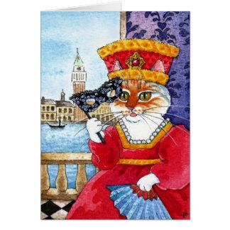 かわいい猫のバレンタインデーまたはカーニバルカード カード