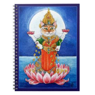 かわいい猫のヒンズー教の女神のLakshmiのノート ノートブック