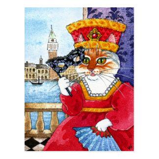 かわいい猫のベニスのカーニバルまたはバレンタインの郵便はがき ポストカード