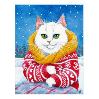 かわいい猫のホワイトクリスマスのメインのあらいぐまの郵便はがき ポストカード