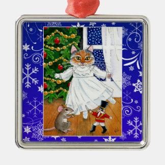 かわいい猫のマウスのくるみ割りのバレエの雪のオーナメント メタルオーナメント