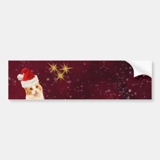 かわいい猫のメリークリスマスの挨拶 バンパーステッカー