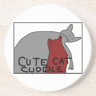 かわいい猫の抱擁 コースター