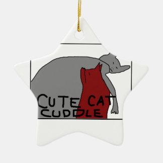 かわいい猫の抱擁 セラミックオーナメント