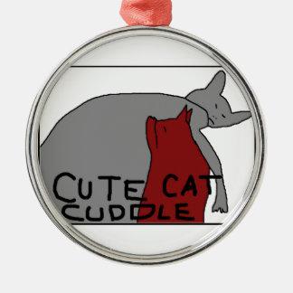 かわいい猫の抱擁 メタルオーナメント