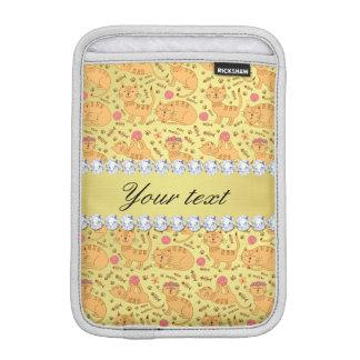 かわいい猫の模造のな金ゴールドホイルのきらきら光るなダイヤモンド iPad MINIスリーブ