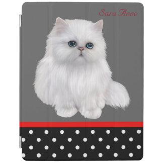 かわいい猫の白い長髪のペルシャの子ネコのiPadカバー iPadスマートカバー