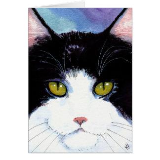 かわいい猫の白黒の誕生日かカードを引き起こします カード