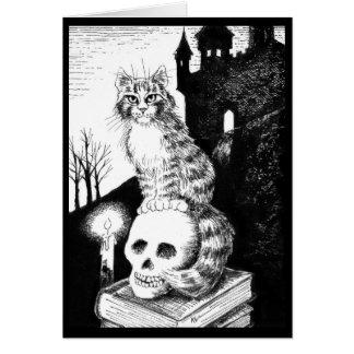 かわいい猫の白黒はハロウィン、カードを引き起こします カード