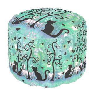 かわいい猫の芸術のシルエットのモダンなおもしろいのデザイン プーフ
