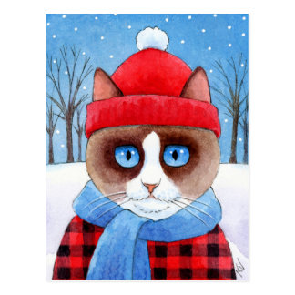かわいい猫の雪のクリスマスのRagdollのかんじきの郵便はがき ポストカード