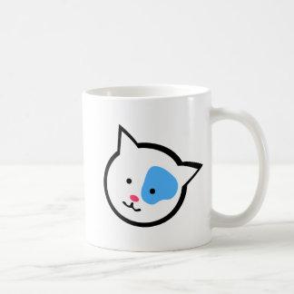 かわいい猫の頭部(青い) コーヒーマグカップ