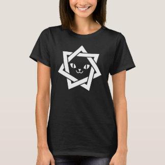 かわいい猫の顔のHeptagramのゴシック様式星 Tシャツ