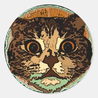 かわいい猫の顔 ラウンドシール
